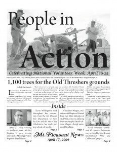 Special section focused on local volunteers that I laid out for the Mt. Pleasant News in 2009.